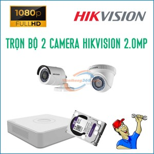 Trọn bộ 2 camera HikVision 2.0MP