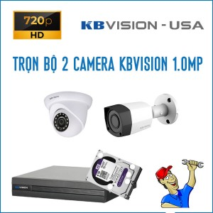 Trọn bộ 2 camera KBVision 1.0MP