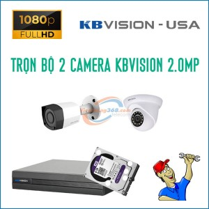 Trọn bộ 2 camera KBVision 2.0MP