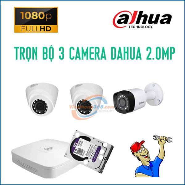 Trọn bộ 3 camera Dahua 2.0MP