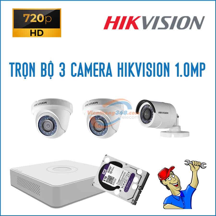 Trọn bộ 3 camera HikVision 1.0MP