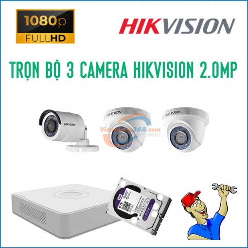 Trọn bộ 3 camera HikVision 2.0MP