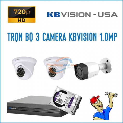 Trọn bộ 3 camera KBVision 1.0MP