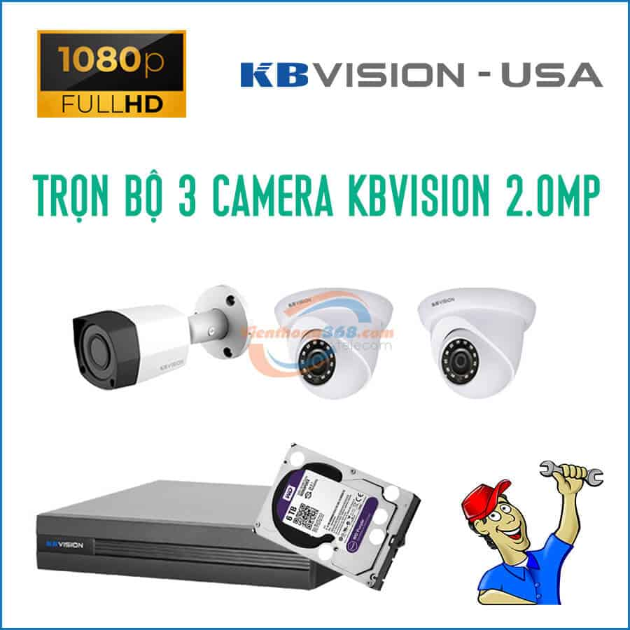 Trọn bộ 3 camera KBVision 2.0MP