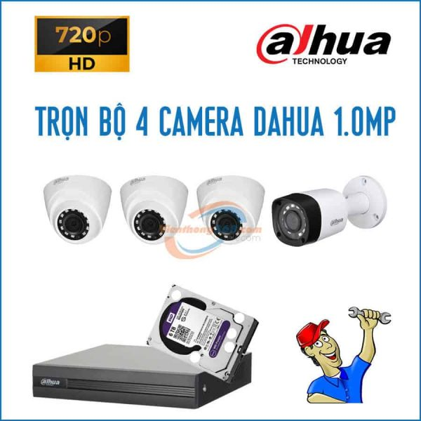 Trọn bộ 4 camera Dahua 1.0MP