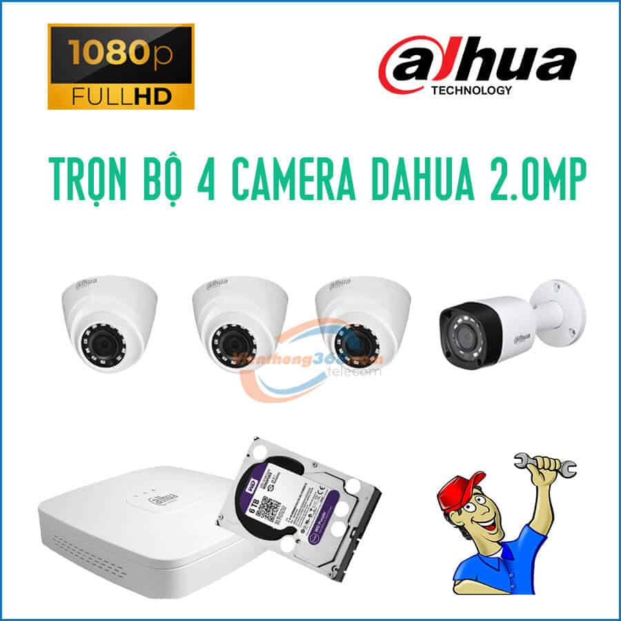 Trọn bộ 4 camera Dahua 2.0MP