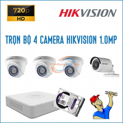 Trọn bộ 4 camera HikVision 1.0MP