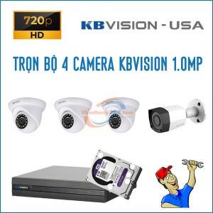 Trọn bộ 4 camera KBVision 1.0MP