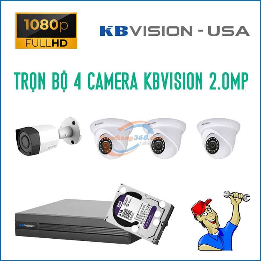 Trọn bộ 4 camera KBVision 2.0MP