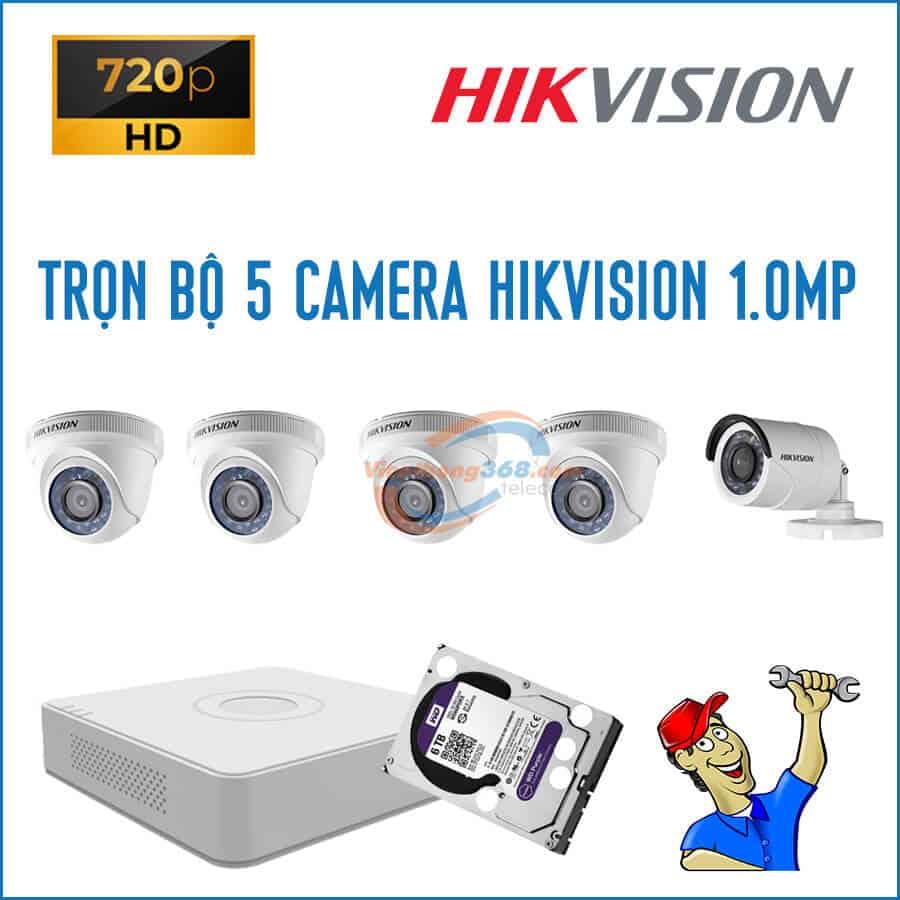 Trọn bộ 5 camera HikVision 1.0MP