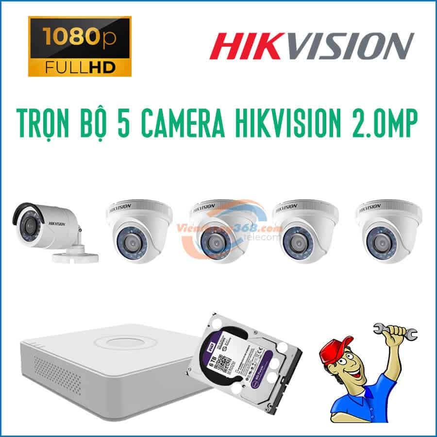 Trọn bộ 5 camera HikVision 2.0MP