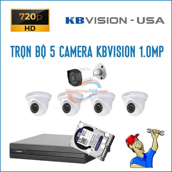 Trọn bộ 5 camera KBVision 1.0MP