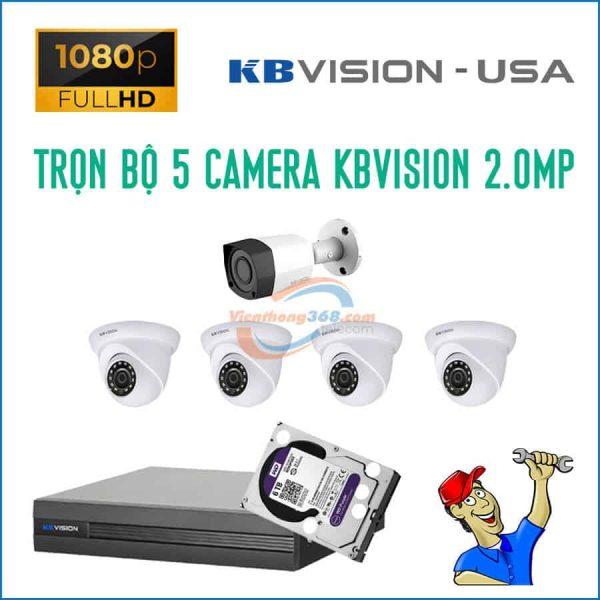 Trọn bộ 5 camera KBVision 2.0MP