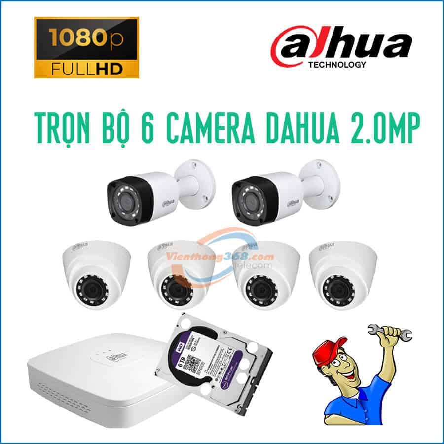Trọn bộ 6 camera Dahua 2.0MP