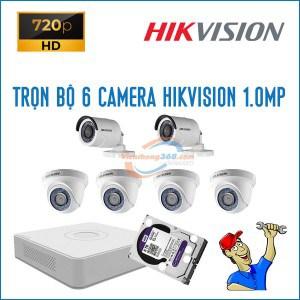 Trọn bộ 6 camera HikVision 1.0MP