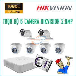 Trọn bộ 6 camera HikVision 2.0MP