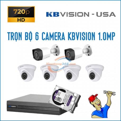 Trọn bộ 6 camera KBVision 1.0MP
