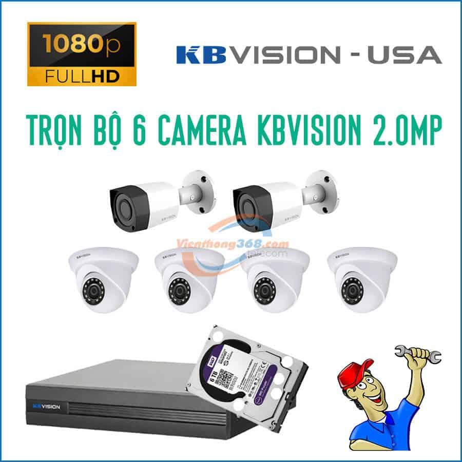 Trọn bộ 6 camera KBVision 2.0MP
