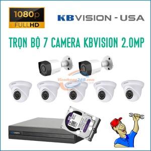 Trọn bộ 7 camera KBVision 2.0MP