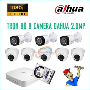 Trọn bộ 8 camera Dahua 2.0MP