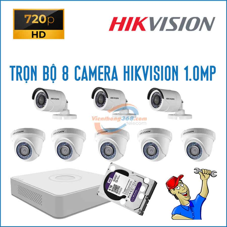 Trọn bộ 8 camera HikVision 1.0MP