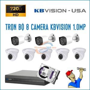 Trọn bộ 8 camera KBVision 1.0MP