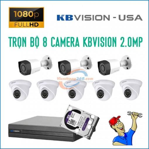 Trọn bộ 8 camera KBVision 2.0MP