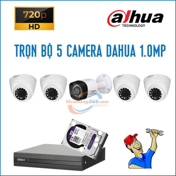 Trọn bộ 5 camera Dahua 1.0MP